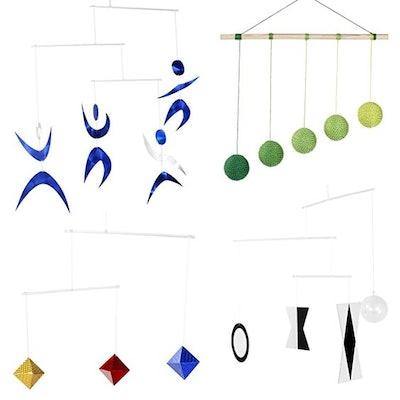 Hand Made Set of 4 x Montessori Mobiles - Munari, Green Gobbi, Dancers Mobile, Octahedron. Montessori Mobile.  Tetrahedron Mobile. Hanging Mobile-Initial Mobile- Black and White Picture Books