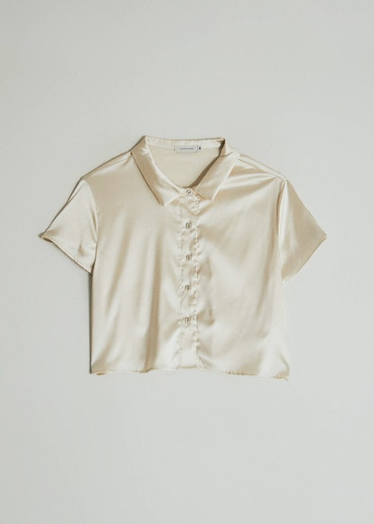 Which We Want Isla Cropped Button Up Shirt in Ivory