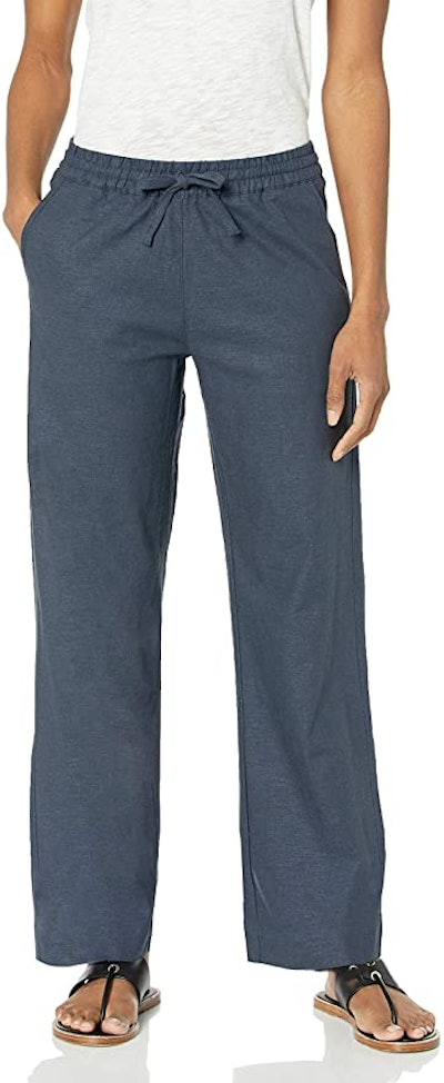 28 Palms Women's Stretch Linen Pant with Drawstring