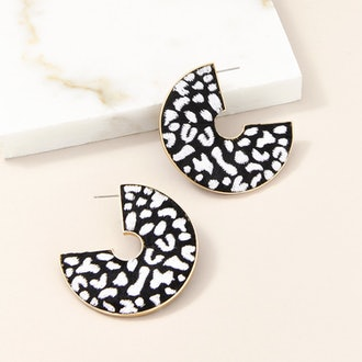 Leopard Hoop Earrings Black/White