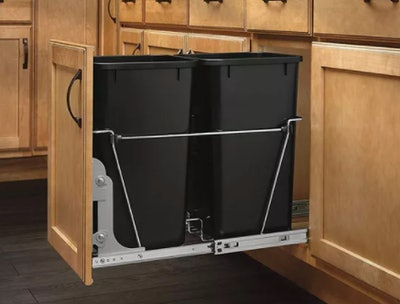 Rev-A-Shelf RV-15KD-18C S Double 27-Quart Sliding Pull Out Waste Bin Container