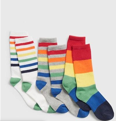 Kids Rainbow Tube Socks 3-Pack
