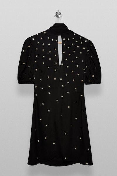 Topshop Black Star Embellished Mini Dress