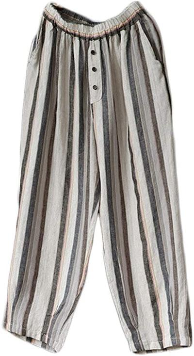 LaovanIn Women's Striped Wide-Leg Cropped Pants