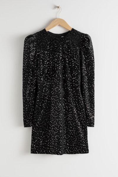 & Other Stories Velvet Sequined Mini Dress