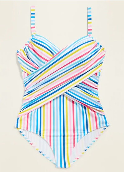Wrap-Front Plus-Size One-Piece Swimsuit