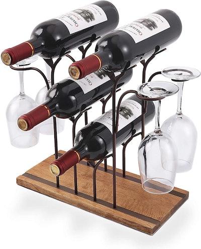 ALLCENER Tabletop Wine & Glass Rack
