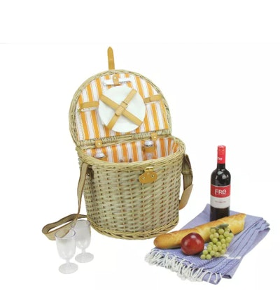 "Northlight 14.25"" Hand Woven Natural Striped Willow 2-Person Picnic Basket and Accessory Set"