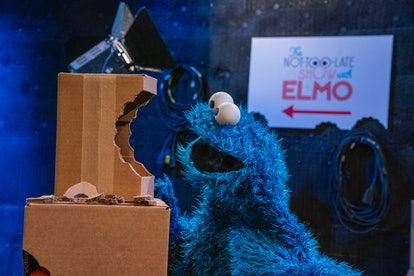 Cooke Monster backstage at The Not Too Late Show With Elmo