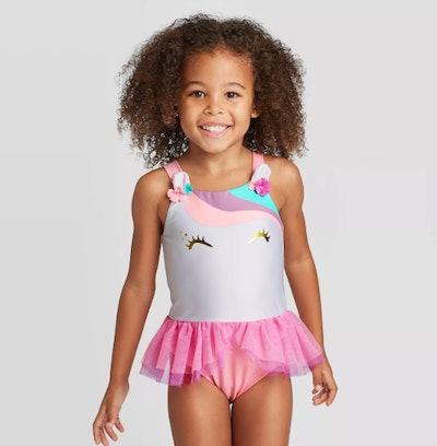 Toddler Girls' Unicorn Face Tutu 1-Piece Swimsuit