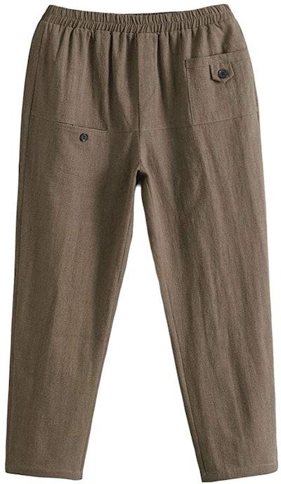 Minibee Women's Elastic Waist Casual Crop Linen Pull On Pants