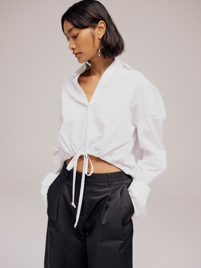 Open Collared Crop Blouse