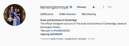 The Kensington Palace Instagram account's profile picture and display name have now changed to add a...