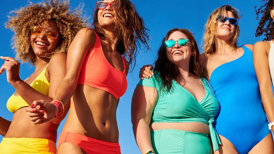 4 women in Old Navy bathing suits
