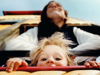 mother and child in playhouse