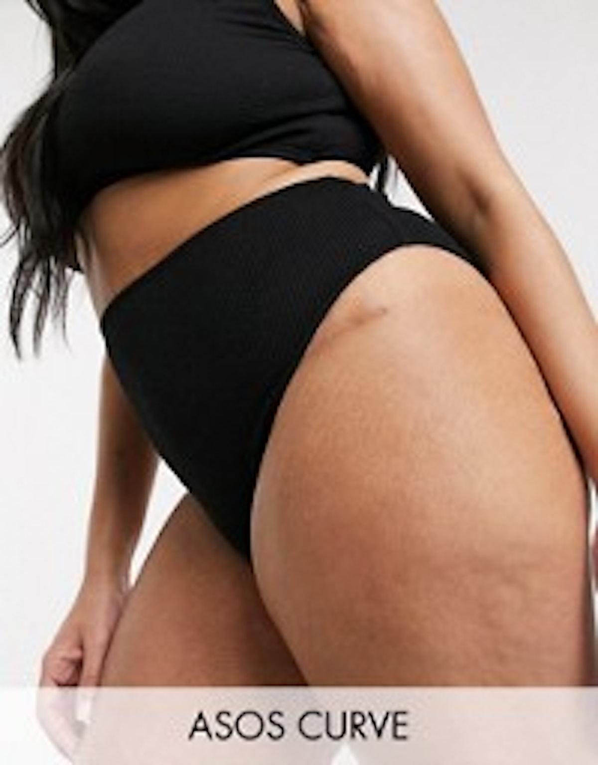 ASOS DESIGN Recycled Curve Mix And Match High Waist Bikini Bottom