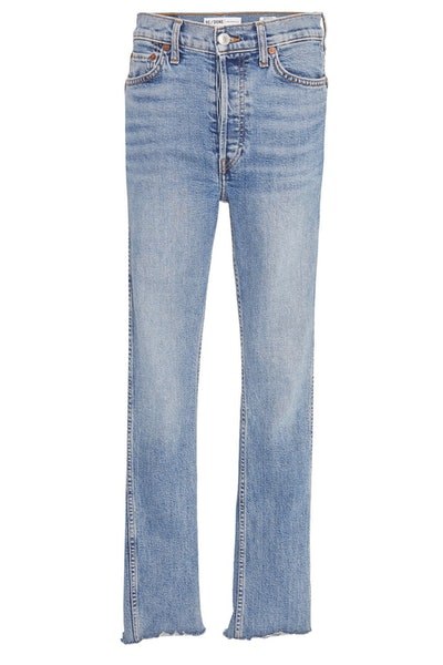 Re/Done Double-Needle High-Rise Straight-Leg Jeans