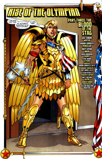 The Golden Eagle armor, from 'Wonder Woman' #28.