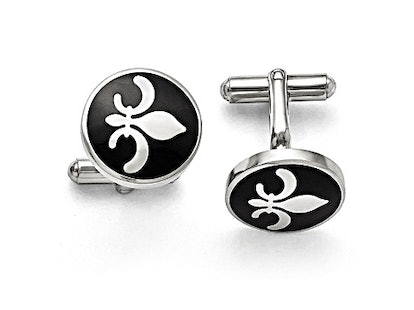 Black Enamel Stainless Steel Polished Fleur De Lis Cuff Links