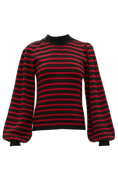 Ganni Balloon-Sleeved Striped Sweater