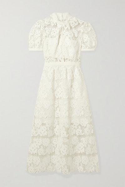 Self-Portrait Grosgrain-Trimmed Guipure Lace Midi Dress