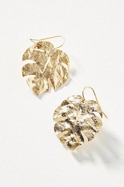 Monstera Leaf Drop Earrings