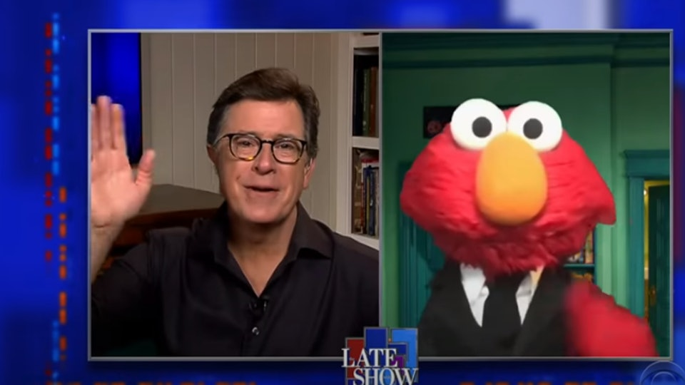 Elmo promised Stephen Colbert he's not copying his show format.