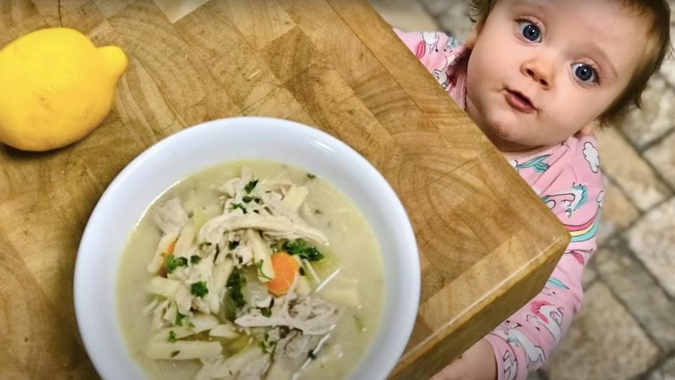 Jessa Seewald's sons helped her make a crockpot chicken soup.