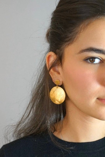 Large Gold Disc Earrings