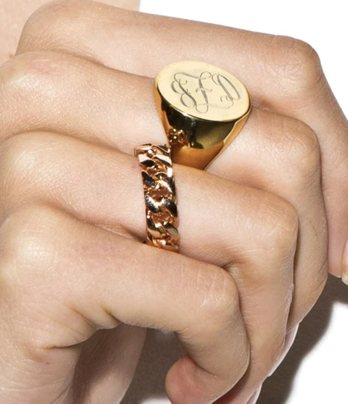 Orly engraved swirly initial oval signet ring