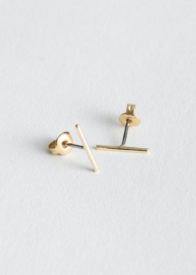 Straight Bar Stud Earrings