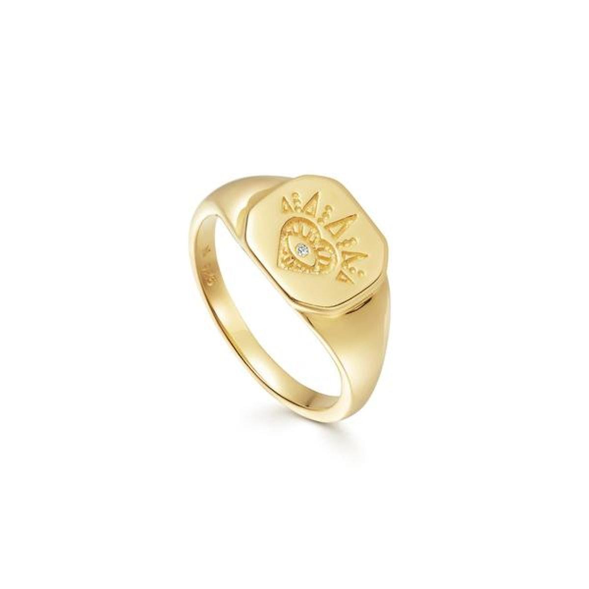 Gold open heart signet ring