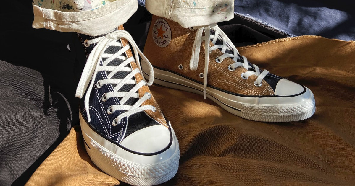 Converse utilizes worn Carhartt workwear for these upcycled Chuck 70s