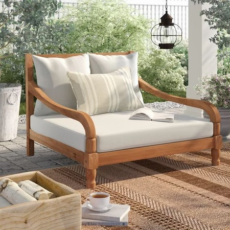 Wiest Chaise Lounge with Cushion – Teak Brown/Beige
