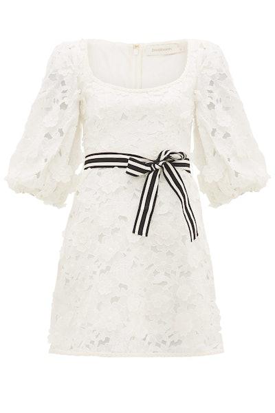 Zimmermann Super Eight Linen-Blend Guipure-Lace Mini Dress