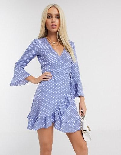 Boohoo wrap dress in blue polka