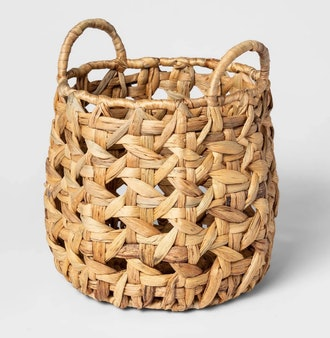 Decorative Cane Pattern 8 Sided Open Weave Basket Natural