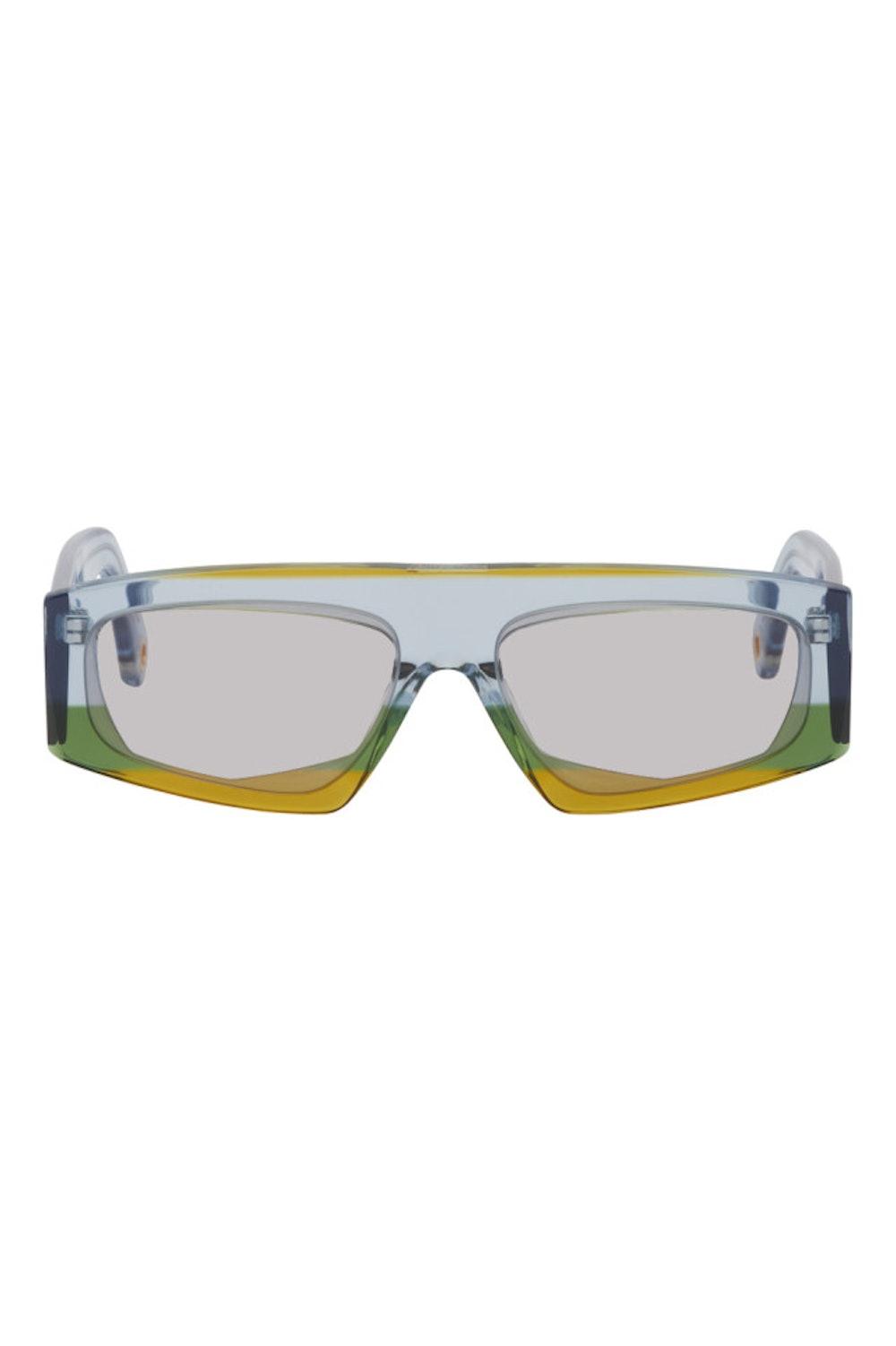 Yellow & Blue 'Les Lunettes Yauco' Sunglasses