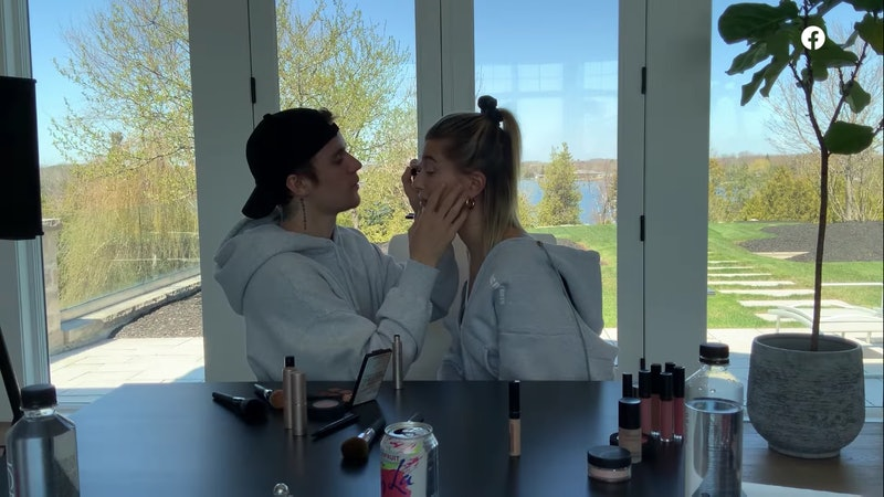 Justin Bieber does Hailey Bieber's makeup in their latest Facebook video.