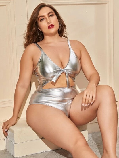 SHEIN Plus Metallic Cut-out One Piece Swimsuit