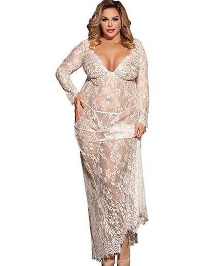 XAKALAKA Long Floral Lace Nightgown