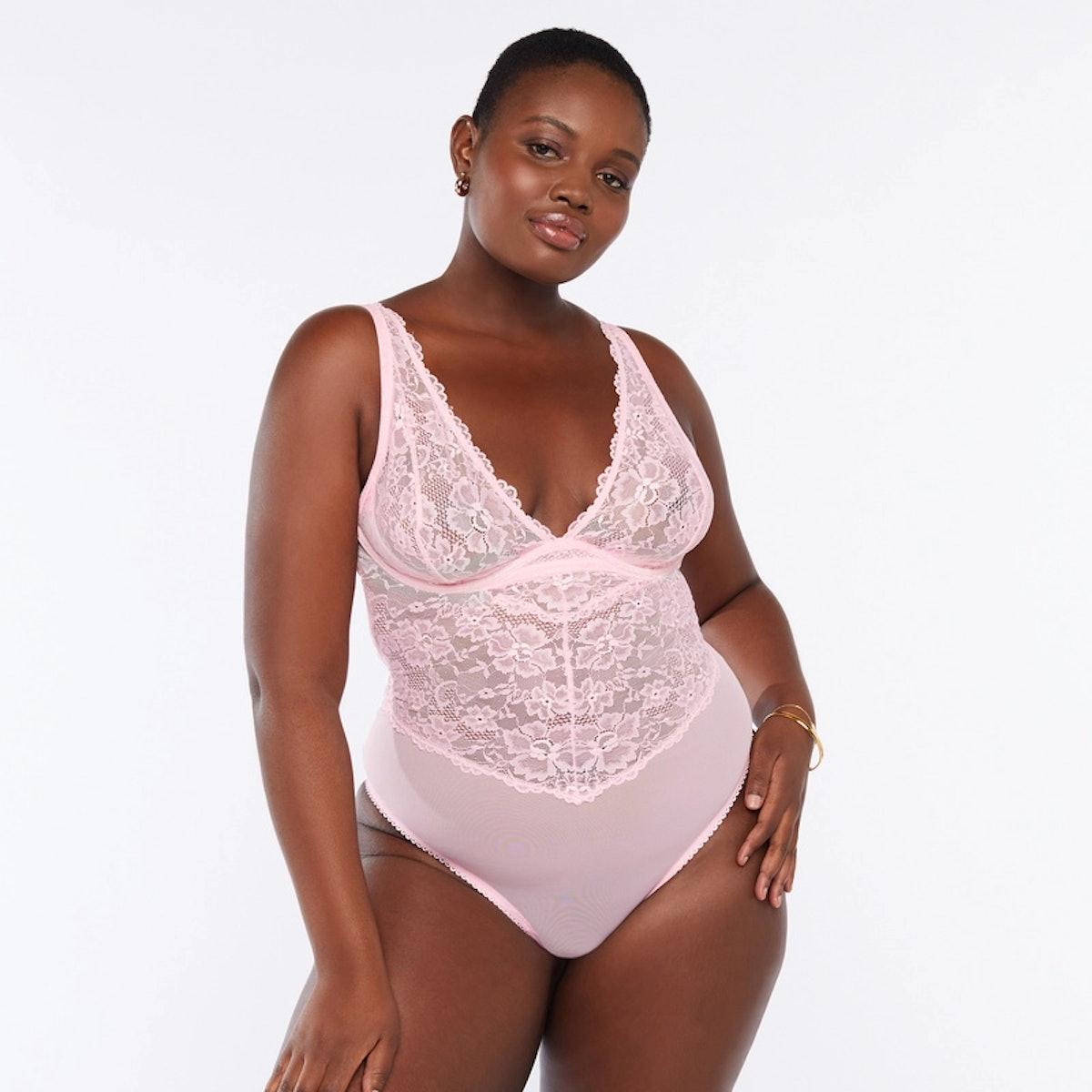 Savage x Fenty pink lace body suit