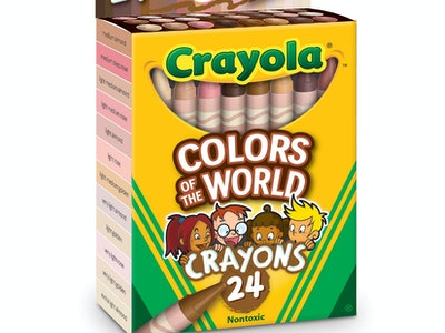 """A green and yellow box of crayons that are multiple differing shades of skin color titled """"Colors of The World."""""""
