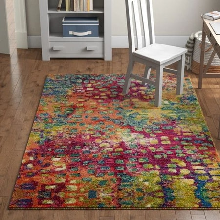 Abstract Yellow/Pink/Blue Area Rug 8'X11'