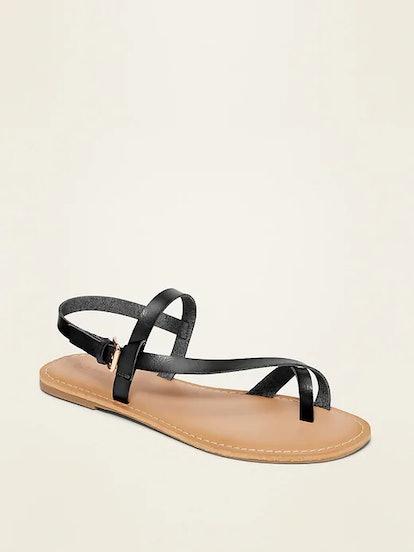 Faux-Leather Asymmetric Cross-Strap Sandals