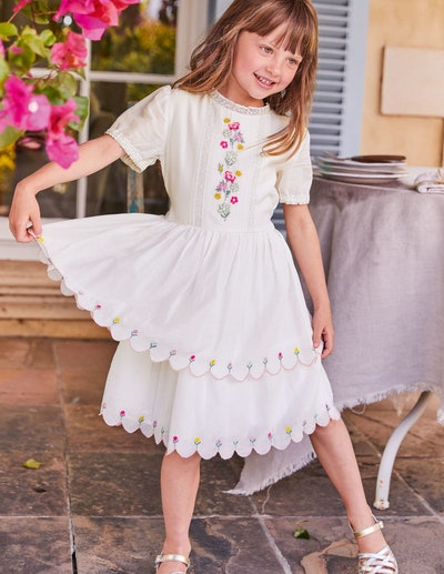 Embroidered Scallop Dress, Ivory