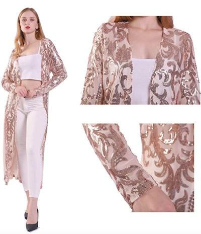 VJJ Adear Sequin Open Front Cardigan