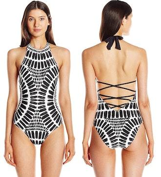 Trina Turk High Neck Halter One-Piece Swimsuit