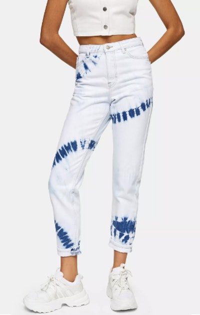 Bleach Tie Dye Mom Tapered Jeans