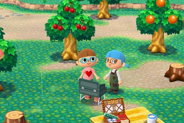 Two friends grill together on an island in 'Animal Crossing.'